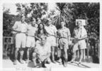Group: Ex-Gisborne Air Defence Unit (ADU) airmen taken at Whaka [Whakarewarewa, Rotorua, New Zealand], dated 7 March 1943. From Left to Right: Ken Gray, Chas Herbert, Bob Elliott, Bruce Banfield, Warren Hart, Foss Fairburn, Claude Baigent. - This image may be subject to copyright