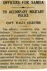 Newspaper clipping, Officers for Samoa: to accompany Military Police: Capt Wales selected. - This image may be subject to copyright