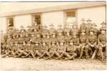 Group, WW1, soldiers outside the barracks, James Parsons (15959) is 5th from the right, middle row (kindly provided by family) - No known copyright restrictions