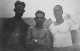 Group, 28 Maori Battalion soldiers,in Egypt, Alex Leger (26514) (left) Manoel Santos (26146) (middle), Joseph Vailima (26147) (right), in Egypt c.1940 - This image may be subject to copyright