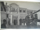 On the steps in front of the hotel, stretchers, men, one with sergeant stripes, Grand Central Hotel Helwan Egypt (cWW2) from collections of Jack and Madge (nee Tyson) Callaghan - This image may be subject to copyright