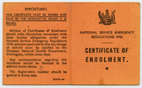 Certificate of Enrolment, WW2, Registration Number 617451 Leslie James McCoid (617451), a card folded, outside - This image may be subject to copyright