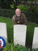 Howard Buxton, 2nd cousin, at the grave of Arnold George Christensen (NZ413380), Poznan Old Garrison Cemetery, Poland, September 2013 - This image may be subject to copyright