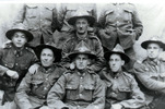 Group, WW1, 6 soldiers: Hecla Wallis far left. Others are Jones, Hamilton and Stack at the back. (no date) - No known copyright restrictions