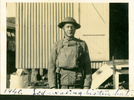 """Portrait, [Trentham Camp] annotated """"1940 Sid wearing his tin hat"""" - This image may be subject to copyright"""
