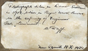 """Inscription of back of the portrait, [Archibald Duff,] """"Photograph taken Dundee, Scotland in 1918, while in Royal Naval Reserve in the capacity of Engineer Sub Lieutenant. [signature] [dated] new Plymouth, N.Z. 1924."""" - No known copyright restrictions"""
