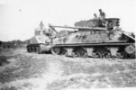 Two tanks, 2 soldiers on each tank at Monfalcone - This image may be subject to copyright