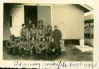 """Group, WW2, 12 soldiers outside barracks informal, mixed uniforms annotated """"Sid among some of the boys 1940"""" [Trentham Camp] - This image may be subject to copyright"""