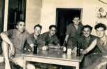 Group, K Force Signals, 6 soldiers, Jack Samuel Winter (203999) (2nd from right) Charly Troop, Hiro Camp, Japan 1952 drinking a beer - This image may be subject to copyright