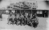 Group, WW2, 6 soldiers, kneeling, wearing berets. Left to right: W.A. Prendergast, T.J. McLeish, J.C.A. Becker, D.L. Black, R.E. Fergus, Henry Campbell - This image may be subject to copyright