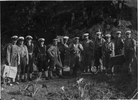 Un-identified members of TAS party from HMNZS Bellona at Great Barrier Island on demolitions (approximately 1950) - This image may be subject to copyright