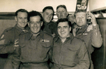 Group, Korea, K Force Signals - 6 soldiers, Jack Samuel Winter (203999) (left) in bar at Burnham 1953 - This image may be subject to copyright