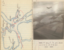 Nugent, Royden Leslie (NZ427846). Diary, WW2. Aerial photo over Orsten Fjord looking east and sketched map of flight path [p7] - This image may be subject to copyright