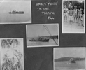 """Pacific 1944 top left HMNZS Breeze TO2 Minesweeper; top right group 2 seamen and 2 Pacific Island people a woman carrying basket on her head, a man wearing a singlet and long trousers; Centre K385 HMNZS Arabis Flower Class Corvette; bottom left coconut palms; bottom right K385 HMNZS Arabis Flower Class Corvette;. Page caption """"HMNZS Matai in the Pacific 1944"""" photographs from the album of Reginald Lowen - This image may be subject to copyright"""