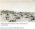 Division in formation for inspection. Winstone Churchill inspecting NZ Division, Castle Benito. Includes division in formation, in background, and tanks in foregound. - This image may be subject to copyright