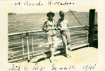 """Two soldiers on deck leaning against the railing [Orcades] annotated """"Sid and Rex Munro 1940"""" - This image may be subject to copyright"""