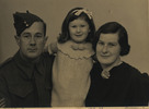 Family, soldier Cedric Seaton Pierce, daughter Shirley June Pierce aged 2 ½ years (later Shirley Brown) and wife Hannah Barbara Pierce - This image may be subject to copyright