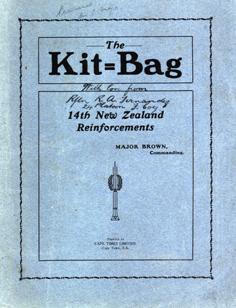 """HMNZT 56 - The kit-bag : the unofficial record of the followi... board the """"Maunganui"""", Troopship 56 -- Cape Town : Printed by Cape Times : 1916. No Known Copyright Restrictions."""