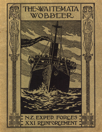 HMNZT 75 - Waitemata wobbler : N.Z. Exped. Forces, XXI Reinforcement. De La Mare, Frederick Archibald, 1877-, editor. Rowland, A.E.M. (Albert Edward MacKay), editor. Harris, E.W. (Edwin Walter), editor. -- [On board ship] : [Magazine Committee] Printed by Cape Times Ltd. : [1917]. No Known Copyright Restrictions.