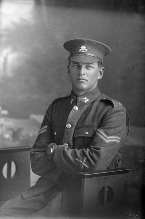 3/4 portrait of Corporal John Ferdinant Anderson, Reg No 31572, of the Auckland Infantry Battalion, - A Company, 21st Reinforcements. (Photographer: Herman Schmidt, 1917). Sir George Grey Special Collections, Auckland Libraries, 31-A2630. No known copyright.