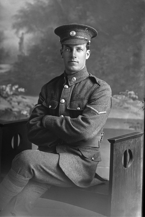3/4 portrait of Lance Corporal Alfred Beecroft , Reg No 24/1593, of the 3rd Reinforcements to the 2nd Battalion, New Zealand Rifle Brigade, - F Company. (Photographer: Herman Schmidt, 1916). Sir George Grey Special Collections, Auckland Libraries, 31-B75. No known copyright.