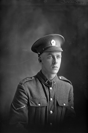 1/4 portrait of Lance Corporal Harold Montrose Ansenne, Reg No 38643, of the 22nd Reinforcements, - E Company. Died of wounds in France on 30 March 1918. (Photographer: Herman Schmidt, 1917). Sir George Grey Special Collections, Auckland Libraries, 31-A2639. No known copyright.