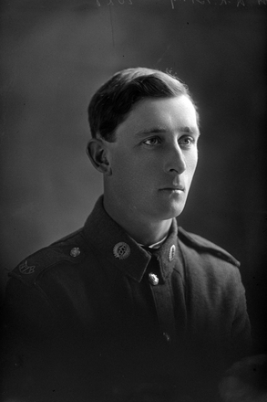 Head and shoulders portrait of Private Harold Roy Bray, Reg No 12/3560, of the  Auckland Infantry Battalion, A Company, 9th Reinforcements (Photographer: Herman Schmidt, 1916). Sir George Grey Special Collections, Auckland Libraries, 31-B125. No known copyright.