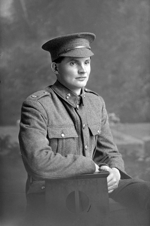 3/4 portrait of Sapper James Bolger, Reg No 37485, New Zealand Engineers Tunnelling Company (later 2nd Corporal). Received the Military Medal. Died from wounds inflicted or disease contracted while with the N.Z.E.F. on 13 Nov 1923. (Photographer: Herman Schmidt, 1916). Sir George Grey Special Collections, Auckland Libraries, 31-B2392. No known copyright.