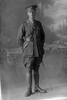 Full length portrait of Lieutenant Harold Dixon Buddle, Reg No 24344, New Zealand Rifle Brigade 22nd Reinforcements, - J Company. (Photographer: Herman Schmidt, 1917). Sir George Grey Special Collections, Auckland Libraries, 31-B2665. No known copyright.