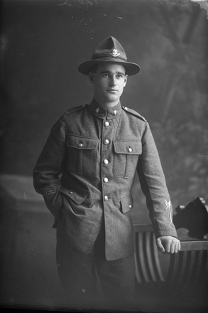 3/4 portrait of Private Walter Richard Burt. (Photographer: Herman Schmidt). Sir George Grey Special Collections, Auckland Libraries, 31-B4103. No known copyright.