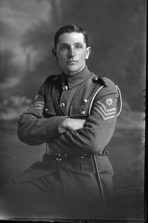 3/4 portrait of Quartermaster Sergeant Charles Chignell, Reg No 13/992, of the Auckland Mounted Rifles, 5th Reinforcements. (Photographer: Herman Schmidt, 1915). Sir George Grey Special Collections, Auckland Libraries, 31-C234. No known copyright.