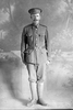 Full length portrait of Sapper William Coldicutt, Reg No 4/1244 of the New Zealand Tunnelling Company. (Photographer: Herman Schmidt, 1915). Sir George Grey Special Collections, Auckland Libraries, 31-C275. No known copyright.