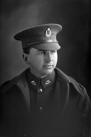 1/4 portrait of Private Harold Arthur Canham, Reg No 26790, of the Auckland Infantry Battalion, - A Company, 17th Reinforcements. Died of wounds in France on 19 June 1917. (Photographer: Herman Schmidt, 1916). Sir George Grey Special Collections, Auckland Libraries, 31-C1933. No known copyright.