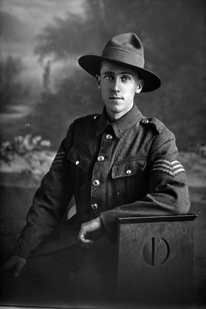 3/4 portrait of Sergeant S Foote, New Zealand Army Service Corps (Photographer: Herman Schmidt, 1916). Sir George Grey Special Collections, Auckland Libraries, 31-F418. No known copyright.
