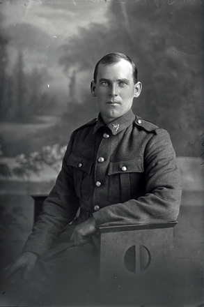 3/4 portrait of Private T J McEldowney of the New Zealand Mounted Rifles, 11th Reinforcements (Photographer: Herman Schmidt, 1916). Sir George Grey Special Collections, Auckland Libraries, 31-E1984. No known copyright.