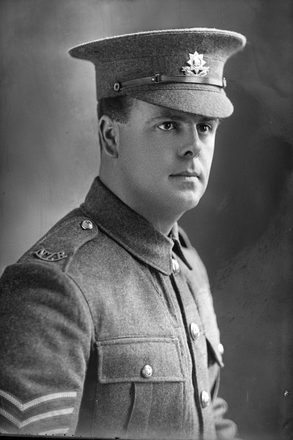 1/4 portrait of Sergeant James Alexander Gentles, Reg No 20917, of the Otago Infantry Battalion, - D Company, 18th Reinforcements. (Photographer: Herman Schmidt, 1916). Sir George Grey Special Collections, Auckland Libraries, 31-G2355. No known copyright.
