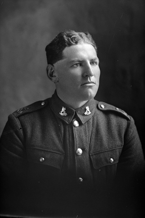 1/4 portrait of Trooper Charles Fletcher, Reg No 56273, of the New Zealand Mounted Rifles, 30th Reinforcements. (Photographer: Herman Schmidt, 1917). Sir George Grey Special Collections, Auckland Libraries, 31-F3681. No known copyright.