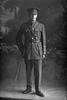 Full length portrait of 2nd Lieutenant Arthur Morice Goulding, Reg No 33125, of the New Zealand Rifle Brigade, J Company. (Photographer: Herman Schmidt, 1917). Sir George Grey Special Collections, Auckland Libraries, 31.G3709. No known copyright.