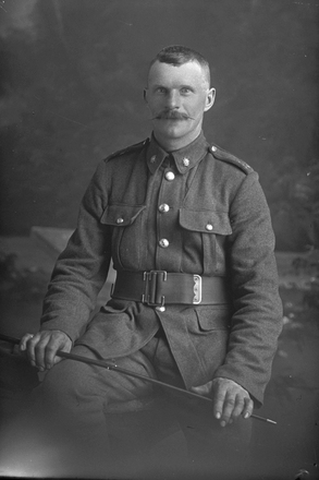 3/4 portrait of Private Lowry (Photographer: Herman Schmidt, 1916). Sir George Grey Special Collections, Auckland Libraries, 31-L1720. No known copyright.