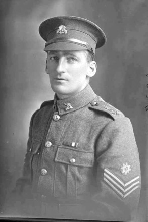 1/4 portrait of Quartermaster Sergeant George Lorimer, Reg No 32534, of the 21st Reinforcements, - E Company. (Photographer: Herman Schmidt, 1916|1917). Sir George Grey Special Collections, Auckland Libraries, 31-L2825. No known copyright.