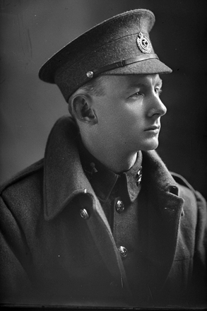 1/4 portrait of Corporal E Marr, probably (Sergeant in the nominal roll) Edmund Townley Marr, Reg No 24/1919, of the 3rd (Auckland) Regiment, Auckland Infantry Regiment, in the roll with the New Zealand Rifle Brigade. (Photographer: Herman Schmidt, 1916). Sir George Grey Special Collections, Auckland Libraries, 31-M752. No known copyright.