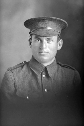 1/4 portrait of Private George Herbert Meder; killed in action 10 August 1917, Ypres, Belgium, buried Faubourg-d'Amiens Cemetery, Arras, France (Photographer: Herman Schmidt, 1916). Sir George Grey Special Collections, Auckland Libraries, 31-M784. No known copyright.