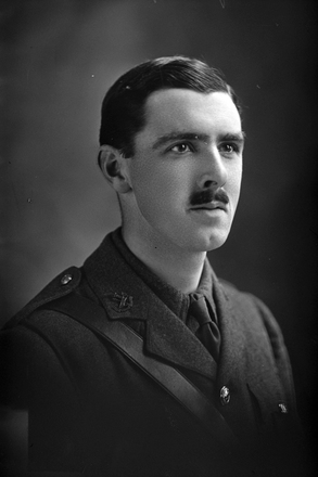 1/4 portrait of Lieutenant Mackay, of the New Zealand Rifle Brigade, 13th Reinforcements, probably William Calder Mackay, Reg No 32527 (see 31-M3176) (Photographer: Herman Schmidt, 1916). Sir George Grey Special Collections, Auckland Libraries, 31-M1764. No known copyright.