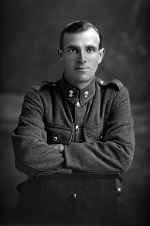 1/4 portrait of Sapper Handley with the New Zealand Engineers. Probably Charles Burgoyne Handley, Reg No 20898, of the 17th Reinforcements. (Photographer: Herman Schmidt, 1916). Sir George Grey Special Collections, Auckland Libraries, 31-H2277. No known copyright.