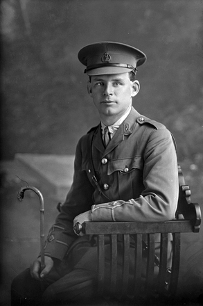 3/4 portrait of 2nd Lieutenant Martin Driscoll Rohan, Reg No 27692, of the New Zealand Rifle Brigade, 10th Reinforcements to the 3rd Battalion, - G Company. (Later T/Captain). Killed in action in France on the 22nd August 1918, Mentioned in Despatches. (Photographer: Herman Schmidt, 1916). Sir George Grey Special Collections, Auckland Libraries, 31-R2449. No known copyright.