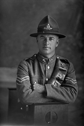 3/4 portrait of Corporal L M Swales, of the New Zealand Field Artillery. (Photographer: Herman Schmidt, 1916). Sir George Grey Special Collections, Auckland Libraries, 31-S2125. No known copyright.