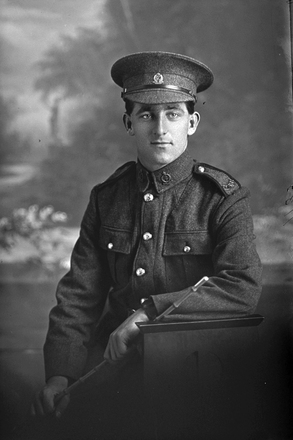 3/4 portrait of Private Horace Taylor of the New Zealand Medical Corps, 12th Reinforcements. (Photographer: Herman Schmidt, 1916). Sir George Grey Special Collections, Auckland Libraries, 31-T1185. No known copyright.