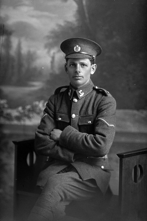 3/4 portrait of Lance Corporal (Corporal in the nominal roll) Albert Victor Tyer, Reg No 12/3174, of the 3rd (Auckland) Regiment, Auckland Infantry Regiment, 7th Reinforcements. (Photographer: Herman Schmidt, 1915). Sir George Grey Special Collections, Auckland Libraries, 31-T2174. No known copyright.