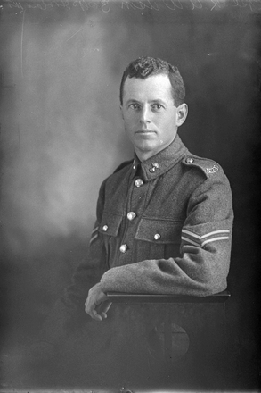 3/4 portrait of Corporal Robert Alexander Wilson, Reg No 37670, of the New Zealand Engineers Tunnelling Company. (Photographer: Herman Schmidt, 1917). Sir George Grey Special Collections, Auckland Libraries, 31-W3520. No known copyright.