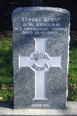 Gravestone at Ngaruawahia Public Cemetery for 379021/579021 (discrepancy) John Graham. No Known Copyright.